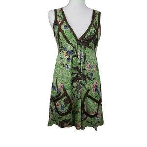 Free People Sundress Green Floral Eyelet Pockets S